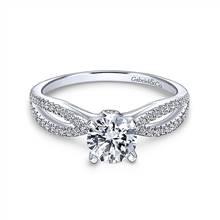 Gabriel & Co. 14K White Gold Round Split Shank Diamond Engagement Ring | Gabriel & Co.