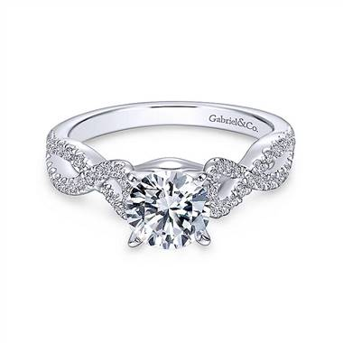 Gabriel & Co. 14K White Gold Round Twisted Diamond Engagement Ring