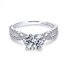 Gabriel & Co. 14K White Gold Round Twisted Diamond Engagement Ring | Gabriel & Co.
