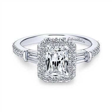 Gabriel & Co. 14K White Gold Three Stone Halo Emerald Cut Diamond Engagement Ring