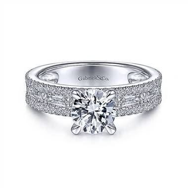 Gabriel & Co. 14K White Gold Wide Band Round Diamond Engagement Ring