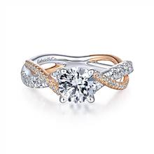Gabriel & Co. 14K White-Rose Gold Round Diamond Twisted Engagement Ring | Gabriel & Co.