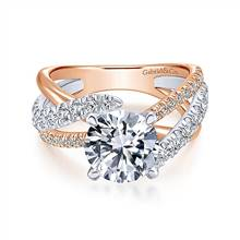 Gabriel & Co. 14K White-Rose Gold Round Free Form Diamond Engagement Ring | Gabriel & Co.