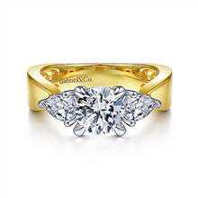 Gabriel & Co. 14K White-Yellow Gold Round 3 Stone Diamond Engagement Ring | Gabriel & Co.