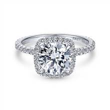 Gabriel & Co. 18K White Gold Round Halo Diamond Engagement Ring | Gabriel & Co.