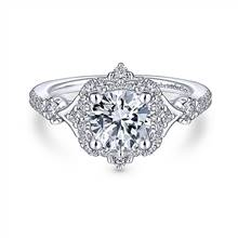Gabriel & Co. Unique 14K White Gold Vintage Inspired Halo Diamond Engagement Ring | Gabriel & Co.