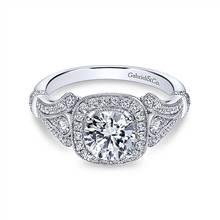 Gabriel & Co. Vintage 14K White Gold Cushion Halo Round Diamond Engagement Ring   Gabriel & Co.