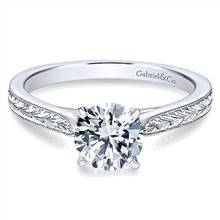 Gabriel & Co. Vintage 14K White Gold Round Diamond Engagement Ring | Gabriel & Co.