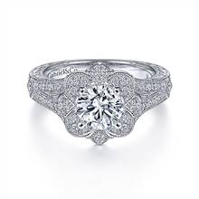 Gabriel & Co. Vintage 14K White Gold Round Halo Diamond Engagement Ring | Gabriel & Co.