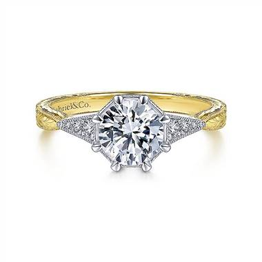 Gabriel & Co. Vintage 14K White-Yellow Gold Round Diamond Engagement Ring