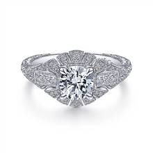 Gabriel & Co. Vintage Inspired 14K White Gold Round Diamond Engagement Ring | Gabriel & Co.