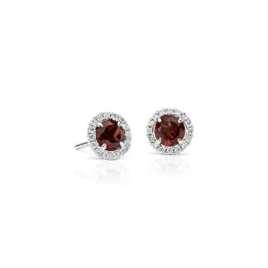 Garnet and Micropave Diamond Stud Earrings in 18k White Gold (5mm)