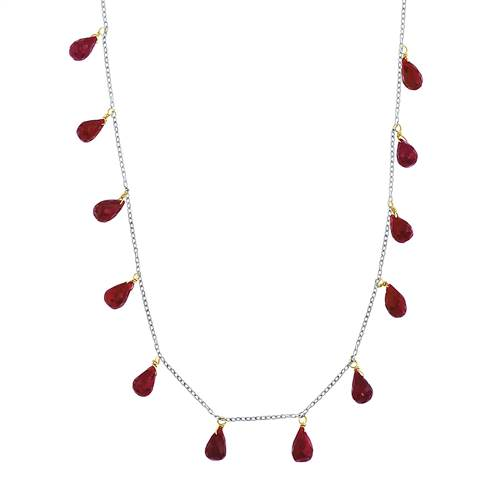 Garnet Gemstone January Birthstone Faceted Briolette Station Necklace in 14K Two Tone Gold
