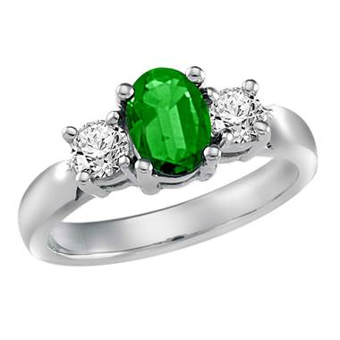 Genuine Emerald and Diamond Ring in Platinum (7x5mm)