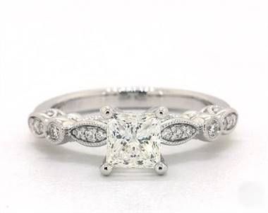 Gorgeous Vintage Inspired Diamond Engagement Ring in 14K White Gold 4mm Width Band (Setting Price)