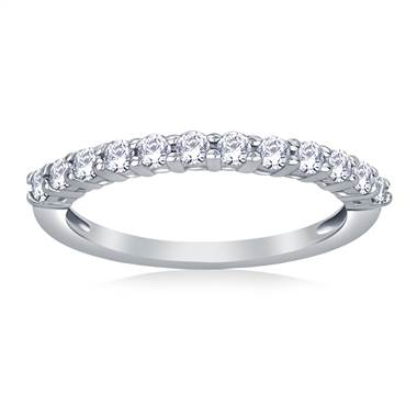 Graduated Prong Set Diamond Wedding Band in 14K White Gold (1/3 cttw)