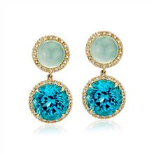 Green Chalcedony and Swiss Blue Topaz Drop Earrings with Diamond Halo in 14k Yellow Gold (10mm) | Blue Nile