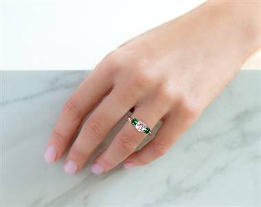 Green Emerald Three-Stone .7ctw Engagement Ring in 14K Rose Gold 2.2mm Width Band (Setting Price)