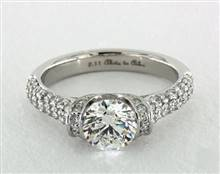 Half-Bezel Tension Wide Pave Shank Engagement Ring in 18K White Gold 2.5mm Width Band (Setting Price)   James Allen