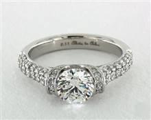 Half-Bezel Tension Wide Pave Shank Engagement Ring in Platinum 2.5mm Width Band (Setting Price) | James Allen
