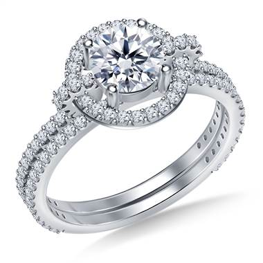 Halo Cathedral Diamond Ring with Matching Band in 18K White Gold