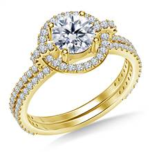 Halo Cathedral Diamond Ring with Matching Band in 18K Yellow Gold | B2C Jewels