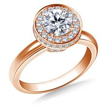 Halo Cirque Diamond Engagement Ring in 14K Rose Gold | B2C Jewels