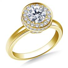 Halo Cirque Diamond Engagement Ring in 14K Yellow Gold | B2C Jewels