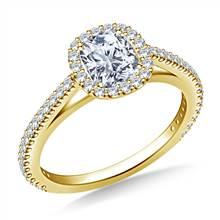 Halo Cushion Cut Diamond Engagement Ring in 14K Yellow Gold | B2C Jewels