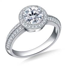 Halo Diamond Engagement Ring in 14K White Gold | B2C Jewels
