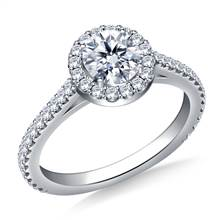 Halo Diamond Engagement Ring In 18K White Gold | B2C Jewels
