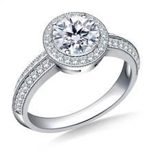 Halo Diamond Engagement Ring in Platinum | B2C Jewels