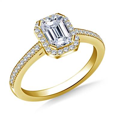 Halo Emerald Cut Diamond Engagement Ring in 14K Yellow Gold