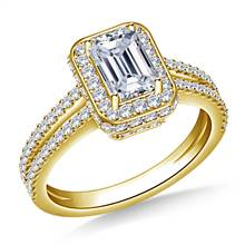 Halo Emerald Cut Diamond Engagement Ring In 14K Yellow Gold | B2C Jewels