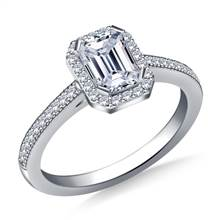 Halo Emerald Cut Diamond Engagement Ring in 18K White Gold | B2C Jewels