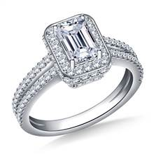 Halo Emerald Cut Diamond Engagement Ring In Platinum | B2C Jewels