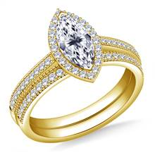Halo Marquise Cut Diamond Ring with  18K Yellow Gold Milgrain Edging in Matching Band | B2C Jewels