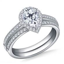 Halo Pear Cut Diamond Ring with 18K White Gold Milgrain Edging in Matching Band | B2C Jewels