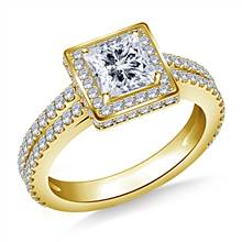 Halo Princess Cut Diamond Engagement Ring with Split Shank In 14K Yellow Gold   B2C Jewels