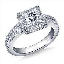 Halo Princess Cut Diamond Engagement Ring with Split Shank In 18K White Gold | B2C Jewels