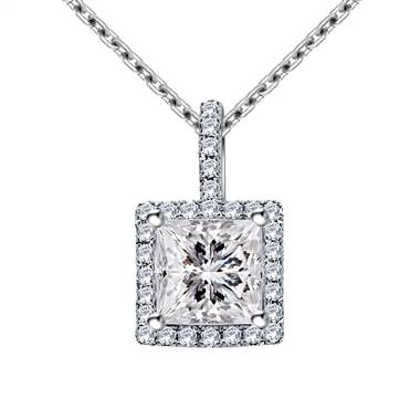Halo Princess Cut Pendant with Micro Pave Diamonds in 14K White Gold