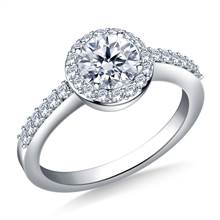 Halo Prong Set Round Diamond Engagement Ring in 18K White Gold | B2C Jewels