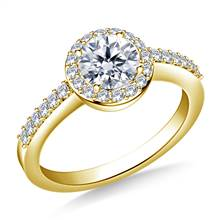 Halo Prong Set Round Diamond Engagement Ring in 18K Yellow Gold | B2C Jewels