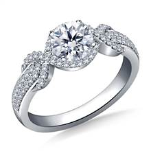 Halo Ribbon Diamond Engagement Ring in 14K White Gold | B2C Jewels
