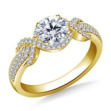 Halo Ribbon Diamond Engagement Ring in 14K Yellow Gold | B2C Jewels