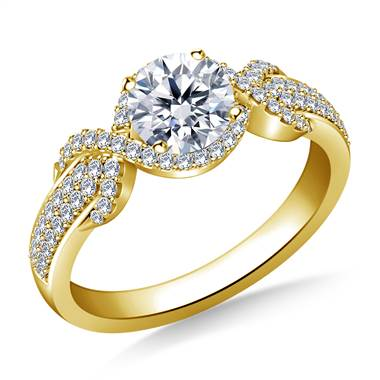 Halo Ribbon Diamond Engagement Ring in 14K Yellow Gold