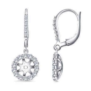 Halo Round Diamond Dangling Lever Back Earring in 14K White Gold.