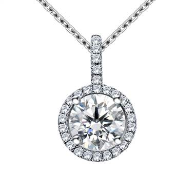Halo Round Diamond Pendant with Micro Pave in 18K White Gold