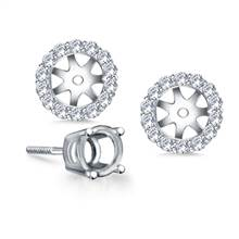 Halo Round Diamond Stud Earring Jacket in 14K White Gold | B2C Jewels
