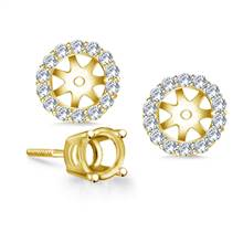 Halo Round Diamond Stud Earring Jacket in 14K Yellow Gold | B2C Jewels